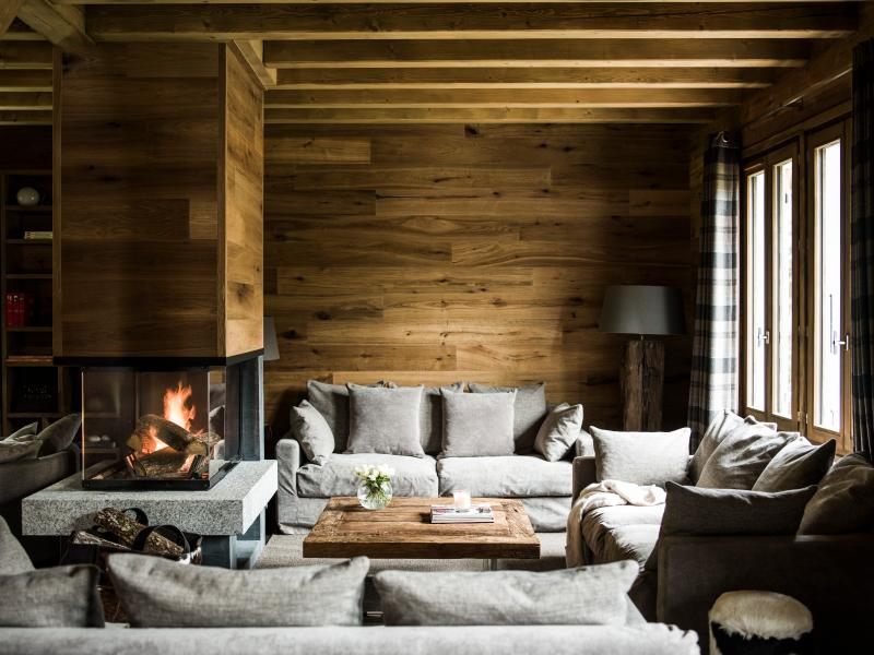 Wonderful lounge area by the fire place - Chalet Les Cheserys Chamonix 10 pers. Luxurious - Chamonix - rentals
