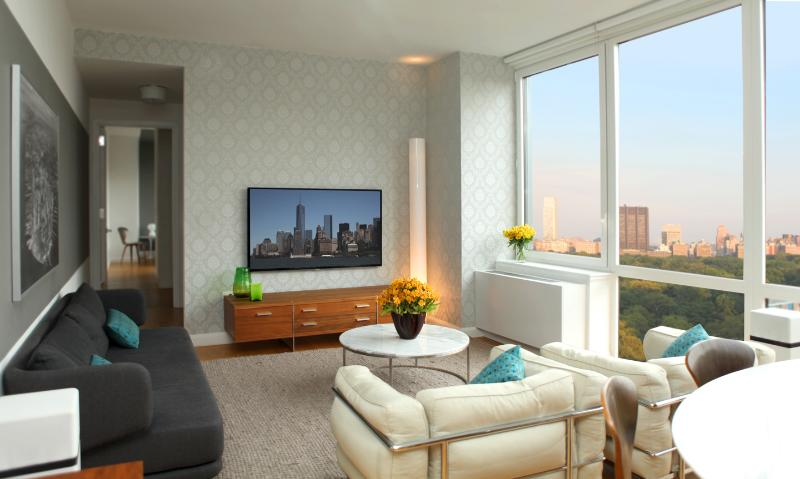 Living room with Central Park view - Luxury 2Bed/2.5Bath Apt with Central Park Views! - New York City - rentals