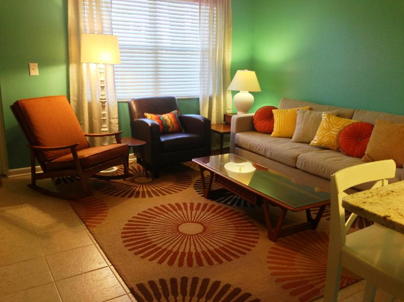 Living room - Beachfront Newly Renovated Retro Condo - Treasure Island - rentals