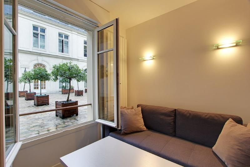 Living room with view on court of honor - Pretty Studio at Odeon Pont Neuf in Paris - Paris - rentals