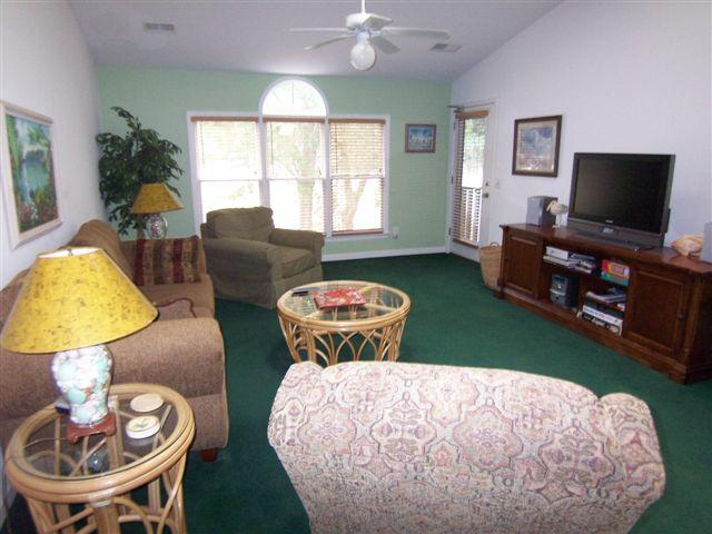 Spacious living room with  large TV, recliner - 1 BR 1 BA (24CV), 2nd Floor, King Bed, Sunset Beach, NC - Sunset Beach - rentals