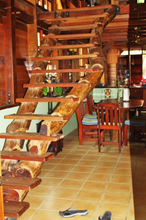 Stair cases leading to loft 2 bedroom house - Timber Frame House - Beyond Paradise - San Ignacio - rentals