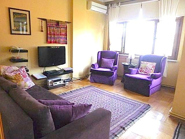 Sunny salon leads to balcony and has (unshown in this photo) alcove with additional seating & light - Sunny, spacious, central, best neighborhood! - Kozakli - rentals