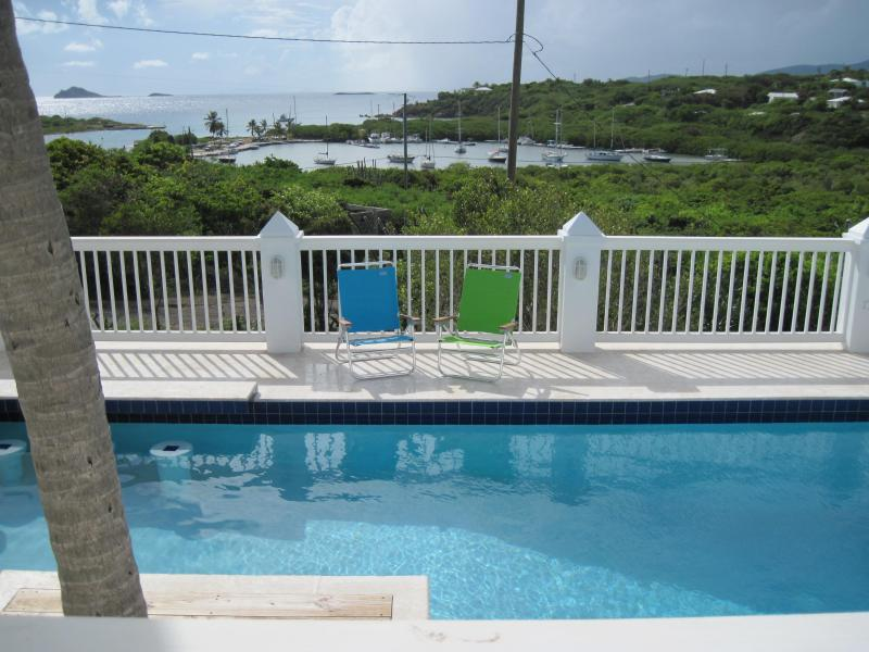 Windswept Shared Pool Overlooking Flamingo Bay - Windswept 1: Oceanfront, Views, Pool, Nearby Beach - Water Island - rentals