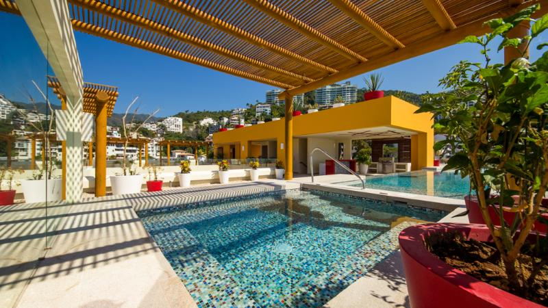 Jacuzzi and common areas - Ocean View Studio, 50 Ft To Beach - Puerto Vallarta - rentals