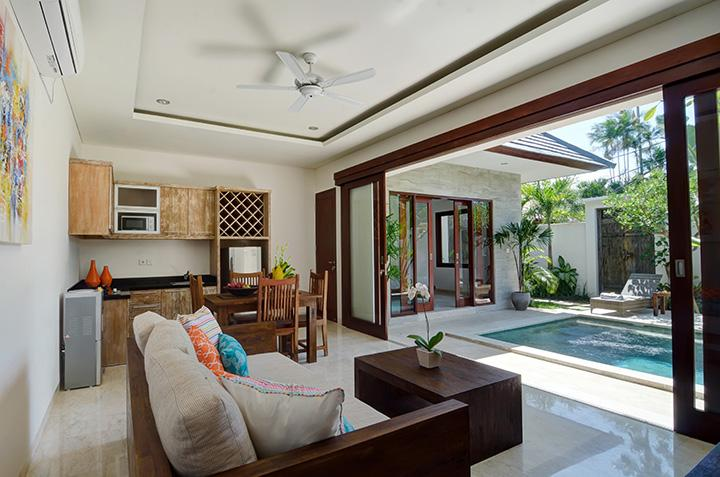 Open-plan living and kitchen opens to a secluded garden with private pool - Private one-bedroom villa with pool, private oasis - Sanur - rentals