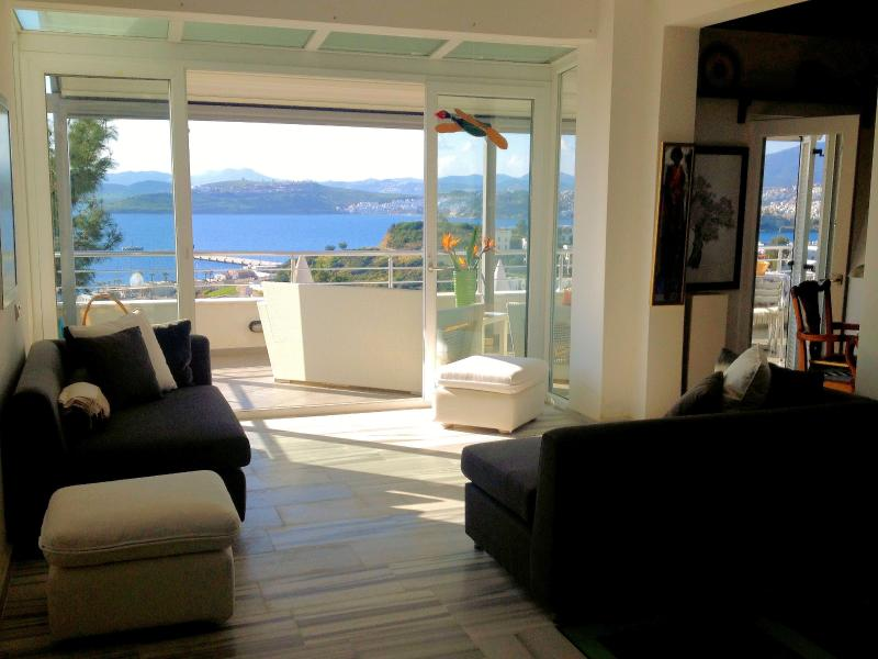 View of the balcony from the living room - Elegant house with breathtaking views close to the - Bodrum - rentals