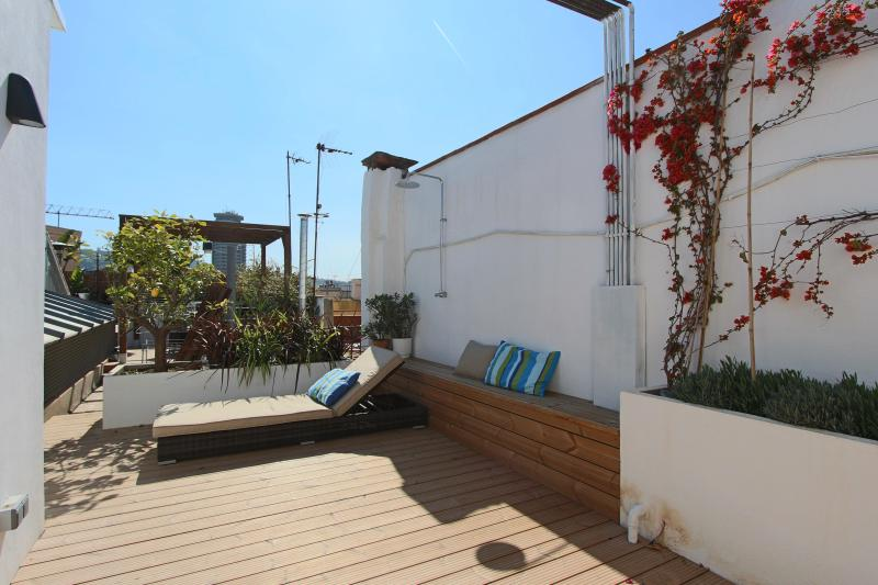 Terrace with lounge chairs & shower - Miro duplex penthouse - Barcelona - rentals