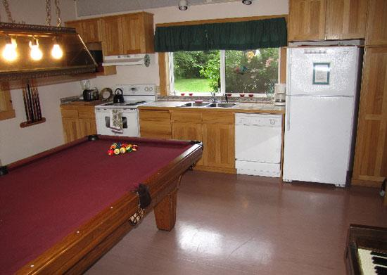 Kitchen and Pool table - Lake Lodge Bed and Barn - Long Beach - rentals