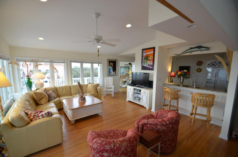 Panoramic ocean views from living room - BEAU SOLEIL Luxury oceanfront estate with pool - Emerald Isle - rentals