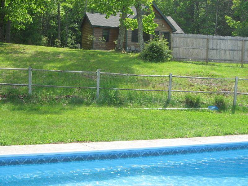 view of  Sunset cottage  & acreage from pool - Woodstock gorgeous cottage & pool. on 10  acres - Woodstock - rentals