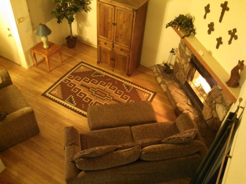 Living room with wood burning fireplace - WW 7 Two Bedroom Plus Loft Condo - Ruidoso - rentals