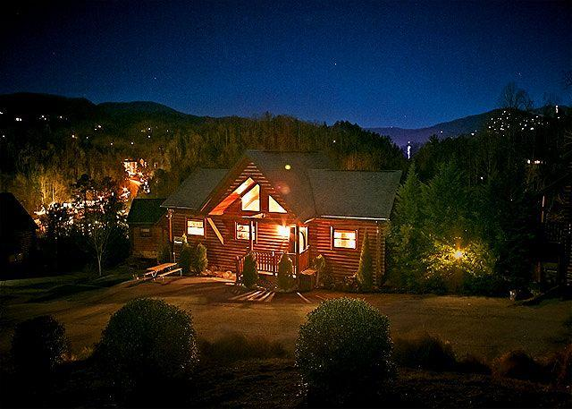 Front of Smoky Mountain Dream with Gatlinburg in the Distance - May from $199!!! 4BR Downtown Gatlinburg Cabin w/ Hot Tub, View, & More! - Gatlinburg - rentals