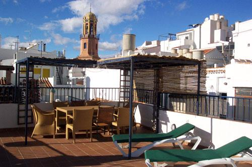 The large roof terrace and view of the church tower - Romantic  villa  with sea views in Andalucia - Competa - rentals