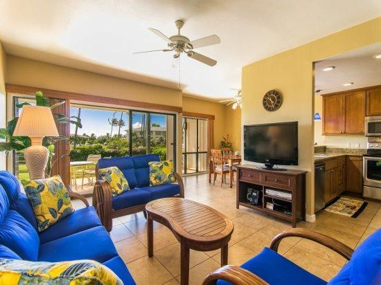 living room  - Free car* with Poipu Sands 214-Lovely 2bd/2bth with 2 king beds, beautiful interiors, close to beaches, Pool-BBQ - Poipu - rentals