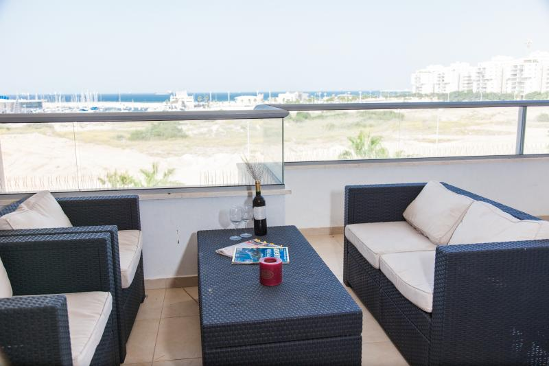 Large Terrace overlooking the sea - Beautiful Israeli Beachfront Apartment 4 Bedrooms - Ashdod - rentals