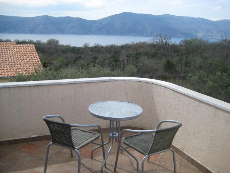 Balcony with sea view, there are actually 4 chairs now;) and umbrella for sun.area is very quite - Villa Matiz on Krk with great garden and SEA VIEW! - Krk - rentals