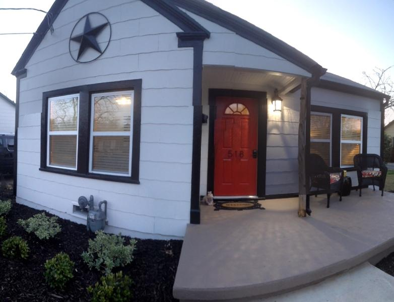 Private House Entry.  Keyless Locks.  Private Porch in New Landscaping - Newly Renovated Bungalow in Historic District of G - Grapevine - rentals