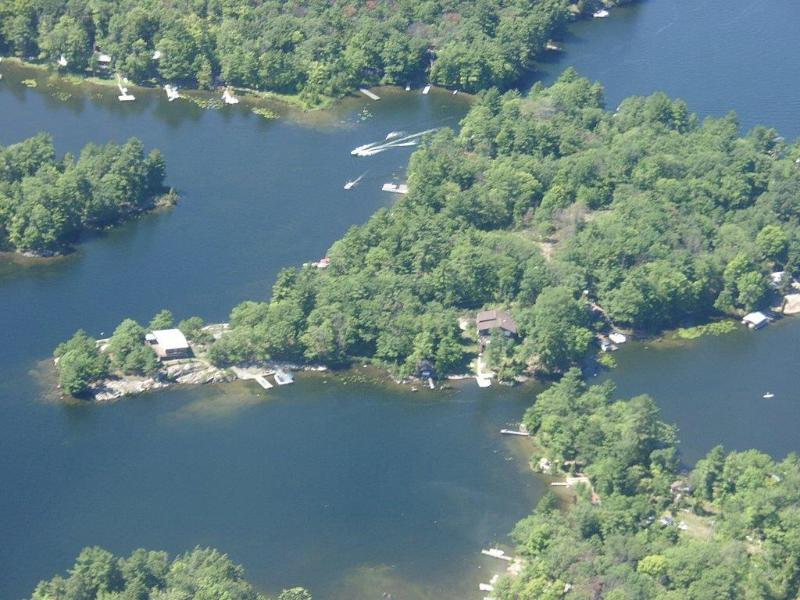 Aerial view of island - Stunning Island Cottage on Six Mile Lake - Port Severn - rentals