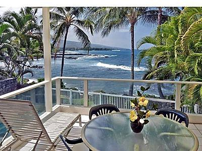 View from lanai main floor - Kona Oceanfront Home at Alii Point - Kailua-Kona - rentals