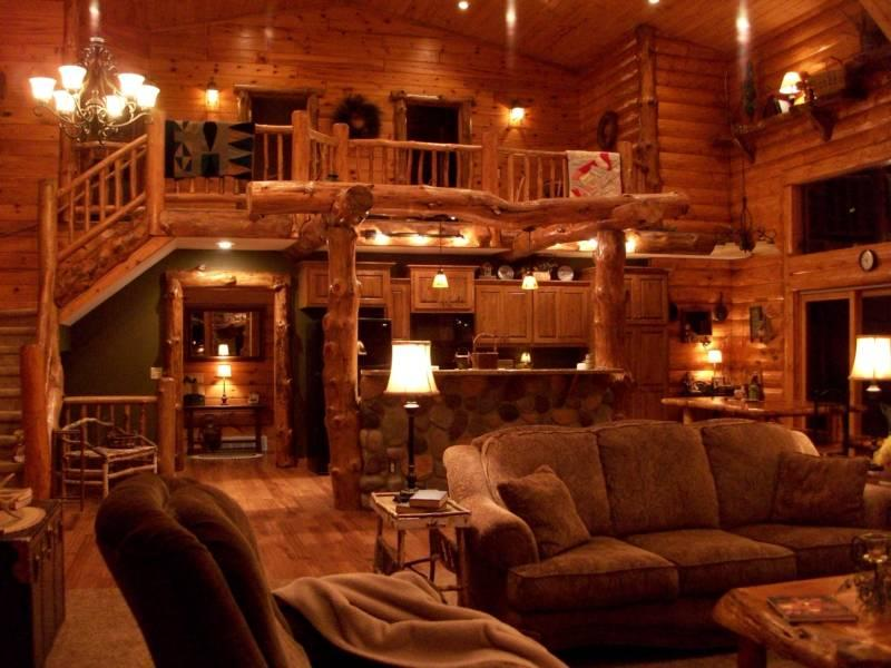 Living room/kitchen - Beautiful Log Lodge (rates based on 6 guest) - Shell Lake - rentals