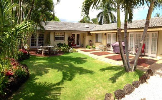 exterior - Hale Huna-4bd/3bth house with lovely interiors, tropically landscaped yard, BBQ. Short 10 min walk to beaches. - Koloa - rentals