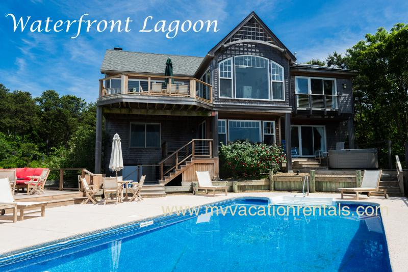 Waterfront Pool - KRIEH - Lagoon Waterfront Luxury,  Pool and Poolside Hot Tub, 500' of Private Sandy Lagoon Beach,  Sweeping Water Views - Oak Bluffs - rentals