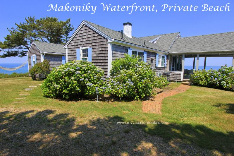 Entry Side of House, Summer Porch on Right - FINBJ - Makonikey Cottage by the Sea, Private Beach, Mesmerizing Waterviews, Spectacular Sunset Views, WiFi - West Tisbury - rentals