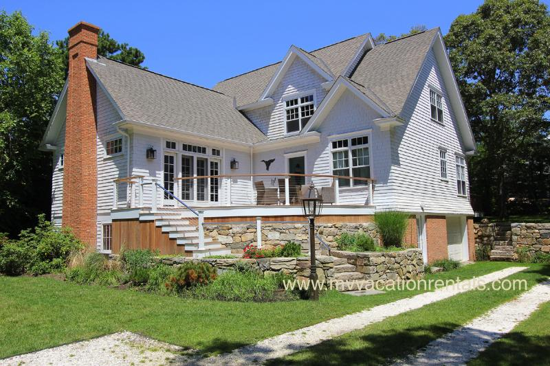 Entry Side of House and Front Deck - CENCR - Tia Anna Summer Retreat, - Central A/C, Large Private Deck, WiFi, Lagoon Beach Rights, Great Area for Launching Kayaks,  Ferry Ticket Available Week 8/9 to 8/16 - Oak Bluffs - rentals