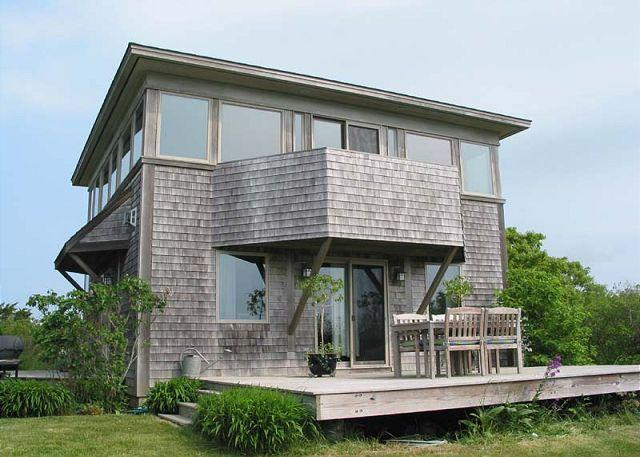 View of deck from water side of property - YEOM1 - Waterview, Walk to Private Association South Shore Beach - Chilmark - rentals