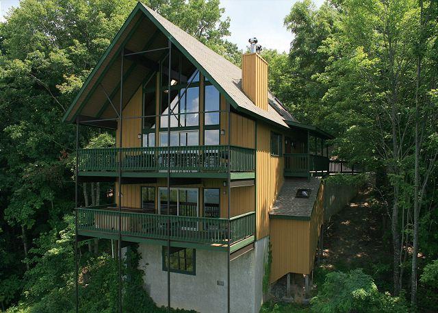 Exterior facing Deck side of Chalet - 819 Windrush - Gatlinburg - rentals