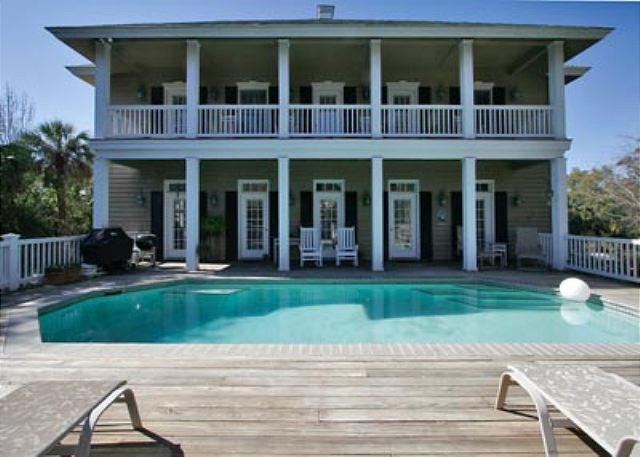 Pool Area - Spectacular Charlestonian 6BR/4.5BA 3rd Row Home is Beautiful in All Aspects - Hilton Head - rentals