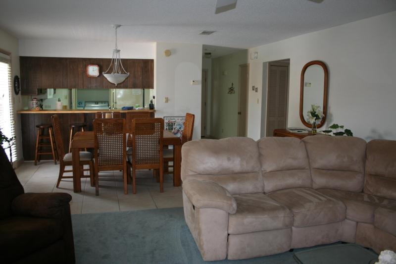 Living Room & Dining Room. Sectional sofa has Queen sofa sleeper and dining table seats 6 - Spectacular Beach Condo! Just Steps To Pool/Beach! - Navarre - rentals