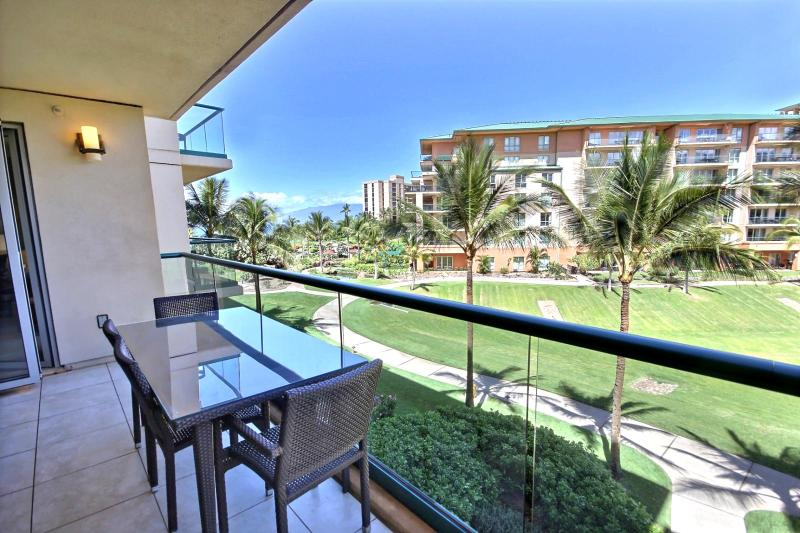 View looking off the lanai to the partial ocean view. - Honua Kai #HKH-344 Kaanapali, Maui, Hawaii - Ka'anapali - rentals
