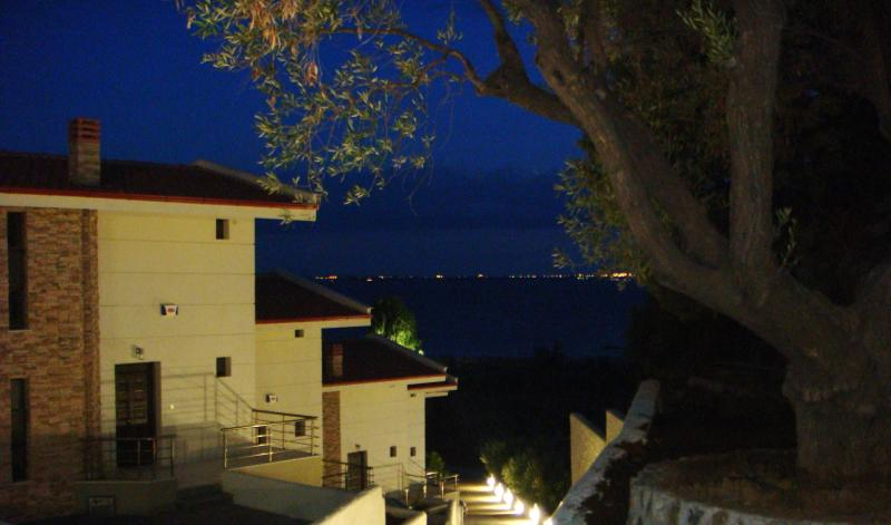 Night view of the complex - Comfortable Duplex House By The Sea - Kalyves Polygyrou - rentals