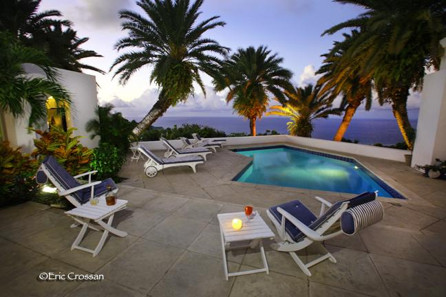 Relax by the pool at sunset - Villa Larimar: Ocean View Designer Dream - Christiansted - rentals
