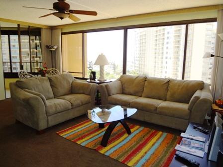 spacious livingroom - Waikiki beach 2BR/2BA condo - Honolulu - rentals