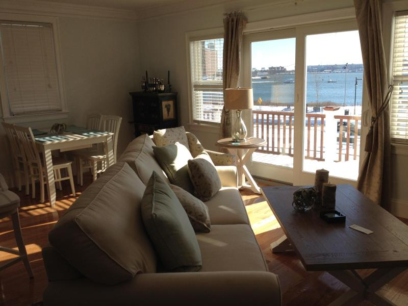 Living room over looking Harbor and city skyline - Brand New Luxury 3 story with private roof deck - Boston - rentals