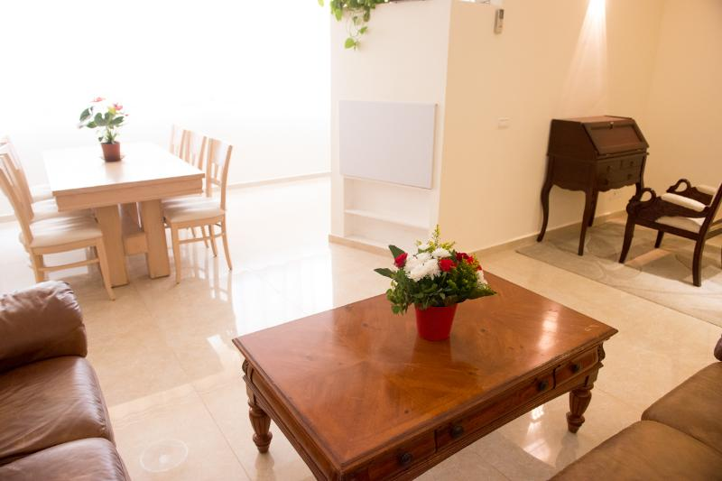 Living room and dining area - luxury and Kosher Jerusalem vacation apartment - Gedera - rentals