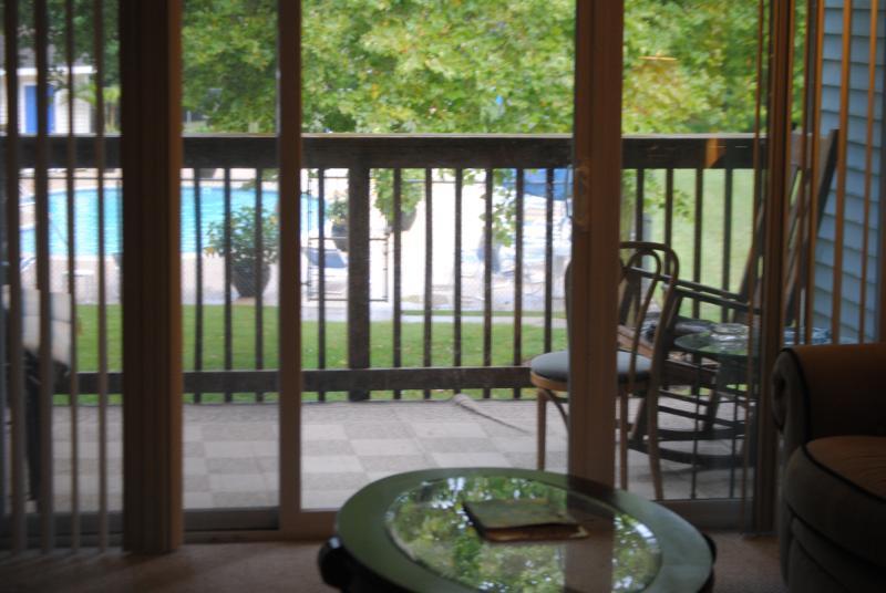Deck overlooking the pool - Lovely Rehoboth Beach, DE, Condo 204 - Rehoboth Beach - rentals