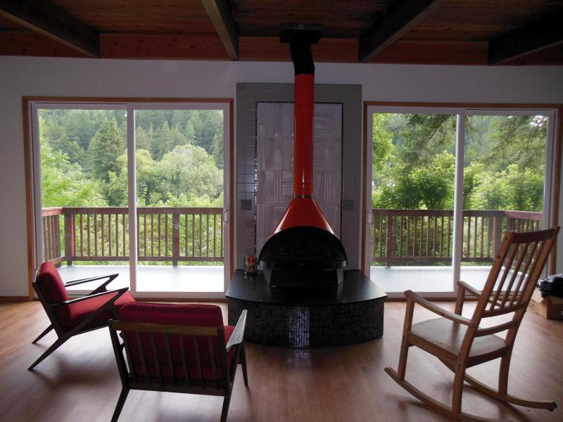 Doors to deck - Redwood Butterfly Cabin Riverfront Canoe Included - Monte Rio - rentals