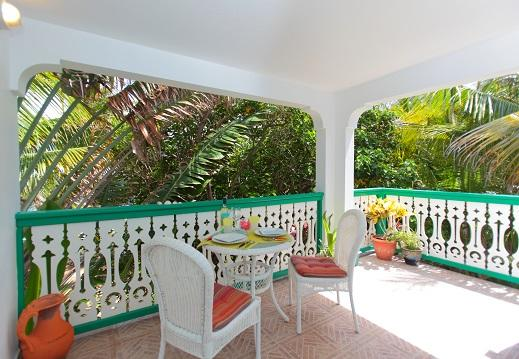 View of the Balcony- Private & Tranquil Tropical Paradise. You can see the sea from here - Tree Frog Apt, Oceanfront Comfort, Tropical Winds - Philipsburg - rentals