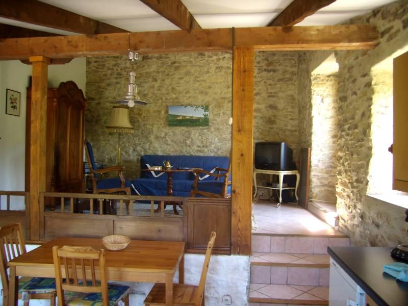 lounge with sofabed/kitchen - charming stone house, big pool, romantic grounds - Bouriege - rentals