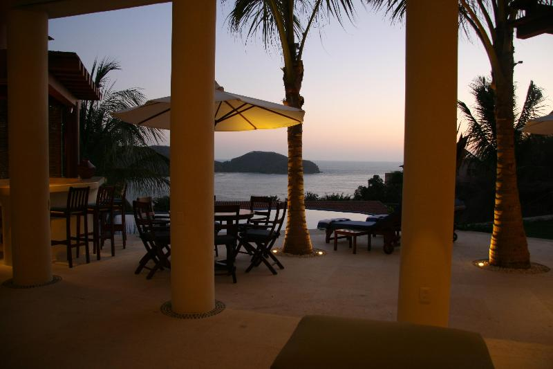 Sunset view out of front of the house from the living area - Picture yourself in this Ocean View Home - Zihuatanejo - rentals