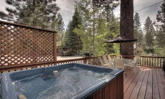 New Deck with Hot Tub, Patio Furniture  Propane BBQ - Butterfield Tahoe Pet Friendly Cabin - Hot Tub - Carnelian Bay - rentals