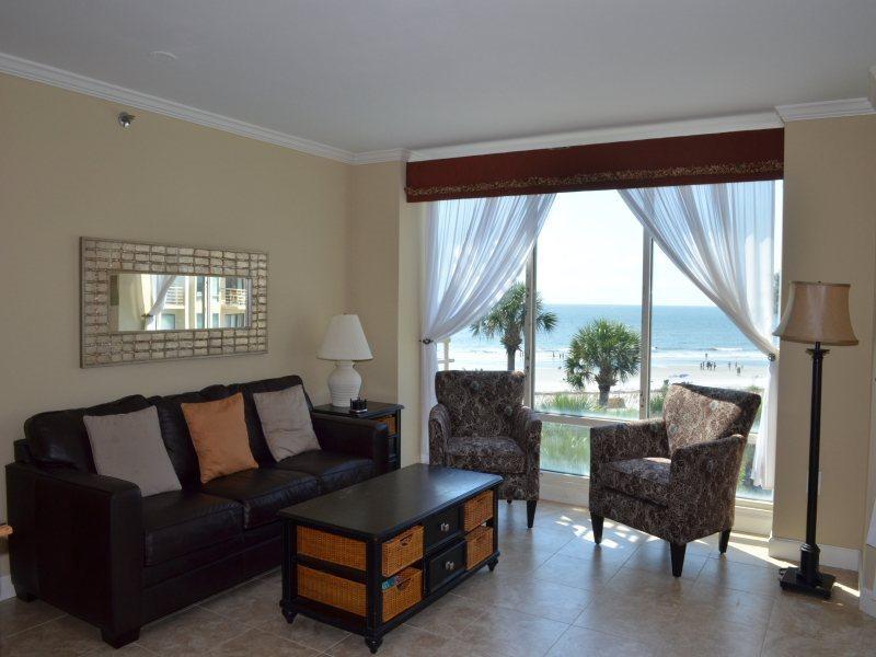 Living Room with Ocean Front Views at 1301 Villamare - 1301 Villamare - Palmetto Dunes - rentals