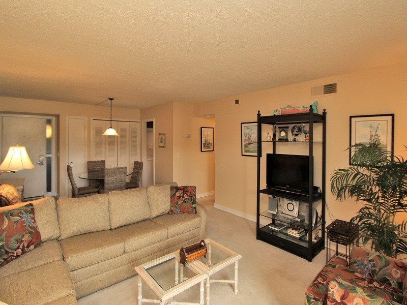 Living Room with Flat Screen at 1725 Bluff Villa - 1725 Bluff Villa - Sea Pines - rentals