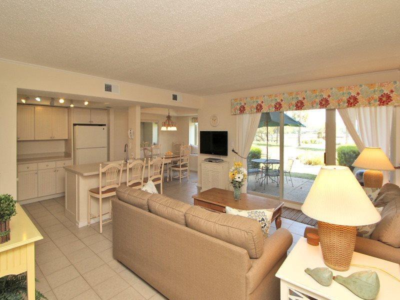 Living Room with Patio Access at 1798 Bluff Villa - 1798 Bluff Villa - Sea Pines - rentals