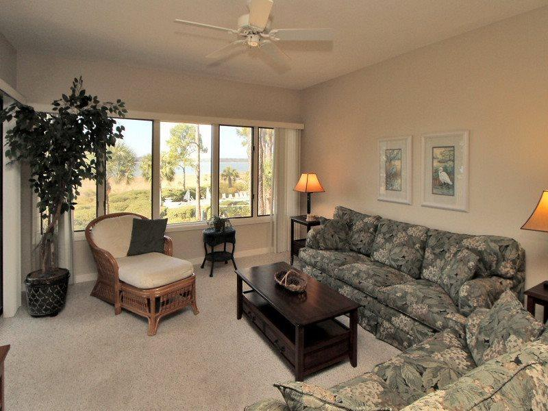 Living Room with Calibogue Sound Views at 1852 Beachside Tennis - 1852 Beachside Tennis - Sea Pines - rentals