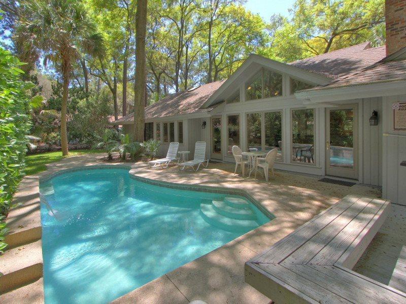 Deck and Pool Area at 20 Baynard Cove - 20 Baynard Cove Road - Sea Pines - rentals